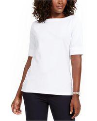 Karen Scott Plus Size Cotton Elbow-sleeve Top, Created For Macy's - White
