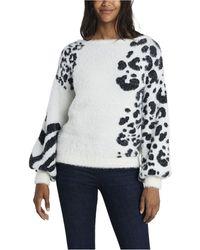 Vince Camuto Petite Zebra Jacquard Eyelash Knit Sweater - White