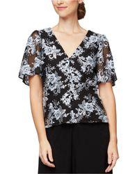 Alex Evenings Floral Embroidered Sequin Lace Short Flutter Sleeve Blouse - Black