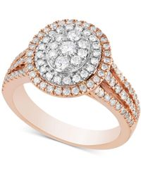 Macy's Diamond Multi-halo Cluster Engagement Ring (1 Ct. T.w.) In 14k Rose Gold & White Gold - Metallic