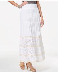 Style & Co. Crochet Eyelet Maxi Skirt, Created For Macy's - White