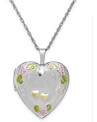 Macy's - Grandma Painted Heart Locket In Sterling Silver - Lyst