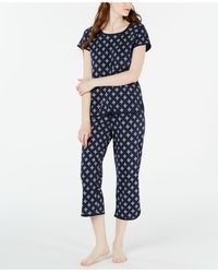 Charter Club Printed Cotton Pyjama Set, Created For Macy's - Blue