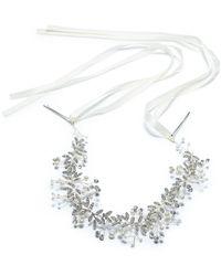 INC International Concepts Inc Silver-tone Crystal & Imitation Pearl Ribbon Headband, Created For Macy's - Metallic