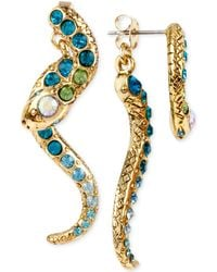Betsey Johnson Gold-tone Pavé Crystal Snake Front And Back Earrings - Metallic