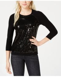 Maison Jules - Sequin-embellished Baseball Sweater, Created For Macy's - Lyst