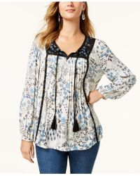 Style & Co. - Studded Printed Peasant Top, Created For Macy's - Lyst