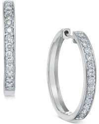 Macy's - Diamond Hoop Earrings (1/2 Ct. T.w.) In 14k White Or Yellow Gold - Lyst