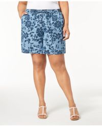 Karen Scott - Plus Size Floral-print Soft Shorts, Created For Macy's - Lyst