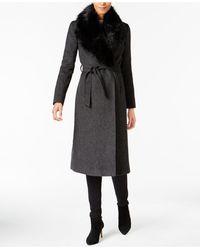 Cole Haan - Faux-fur-collar Belted Maxi Walker Coat - Lyst