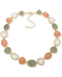 """Anne Klein Gold-tone Crystal, Stone & Mother-of-pearl Collar Necklace, 16"""" + 3"""" Extender - Metallic"""