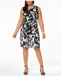 Kasper Plus Size Floral-print Sheath Dress - Black