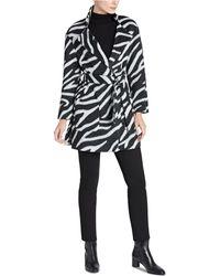 Jones New York - Zebra-print Belted Wrap Coat - Lyst
