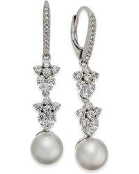 Danori - Silver-tone Imitation Pearl & Crystal Drop Earrings - Lyst
