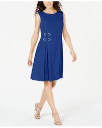 Macy's Jm Collection Petite Grommet-waist Dress, Created For - Blue