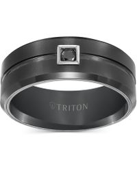 Triton Mens Black Tungsten 9mm Black Diamond Wedding Band 1//10cttw, I-J Color