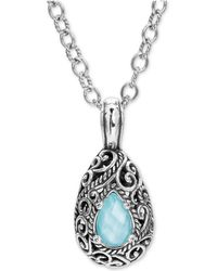"Carolyn Pollack - Turquoise /rock Crystal Doublet 18"" Pendant Necklace In Sterling Silver - Lyst"
