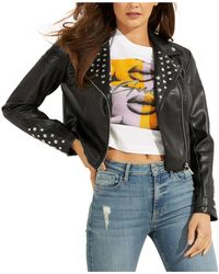 Guess Studded Faux-leather Moto Jacket - Black