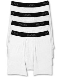Hanes Platinum ? Classic Cotton ? 4 Tagless Boxer Briefs - White