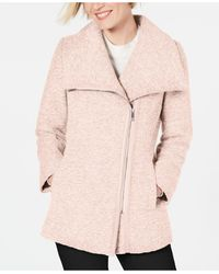 INC International Concepts Inc Asymmetrical Faux-leather-trim Coat, Created For Macy's - Pink