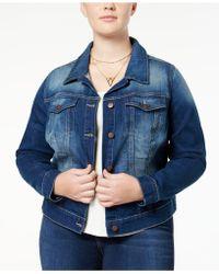 Jessica Simpson Trendy Plus Size Pixie Long Sleeve Denim Jacket - Blue