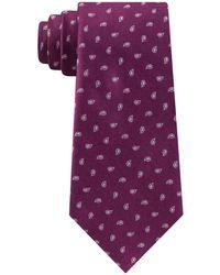 Michael Kors Outlined Pine Classic Paisley Neat Silk Tie - Purple