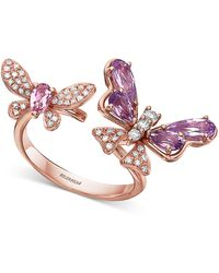 Effy Collection Effy® Amethyst (1 Ct. T.w.), Pink Tourmaline (3/8 Ct. T.w.) & Diamond (1/4 Ct. T.w.) Butterfly Cuff Ring In 14k Rose Gold