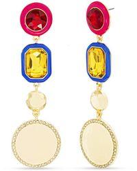 Kensie Rhinestone And Enamel Drop Post Earring - Multicolor