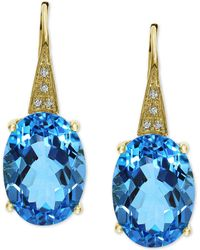 Effy Collection - Effy® Blue Topaz (13-3/4 Ct. T.w.) & Diamond Accent Drop Earrings In 14k Gold - Lyst