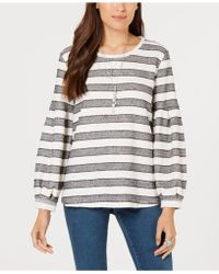 Style & Co. - Striped Puff-sleeve Top, Created For Macy's - Lyst