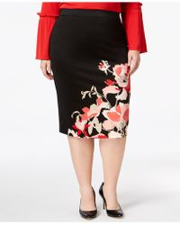 Alfani Plus Size Printed Pencil Skirt - Black