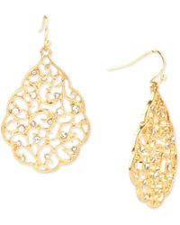 Charter Club - Gold-tone Pavé Open Scroll Drop Earrings, Created For Macy's - Lyst