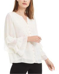 Alfani Embellished Ruffled-sleeve Blouse, Created For Macy's - White