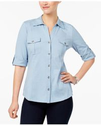 Style & Co. - Collared Button-front Shirt - Lyst