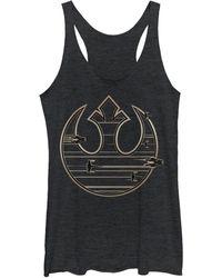 Fifth Sun Star Wars Last Jedi Gold-platinum Tone Rebel Fleet Logo Tri-blend Racer Back Tank - Black