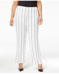 Nine West - Plus Size Striped Wide-leg Trousers - Lyst