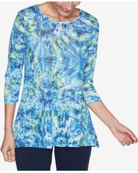 Ruby Rd. Petite Firework-tie-dyed Top - Blue