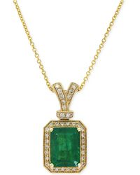 Effy Collection - Emerald (2-1/5 Ct. T.w.) And Diamond (1/5 Ct. T.w.) Pendant Necklace In 14k Gold - Lyst