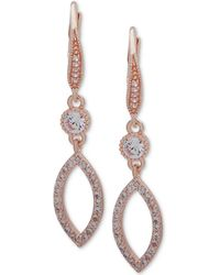 Anne Klein - Crystal & Pavé Navette Drop Earrings - Lyst