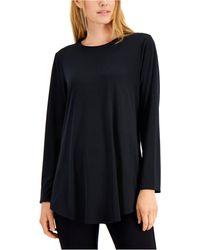 Alfani Crewneck Long Sleeve Tunic, Created For Macy's - Black