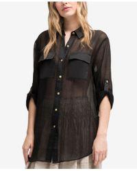 DKNY - Sheer Utility Shirt, Created For Macy's - Lyst