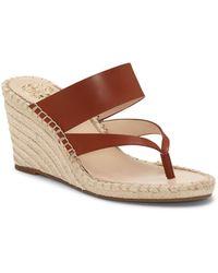 Vince Camuto Lavanda Thong Wedge Sandals - Brown