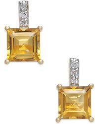 Macy's | Citrine (2-1/5 Ct. T.w.) & Diamond Accent Drop Earrings In 14k Gold | Lyst