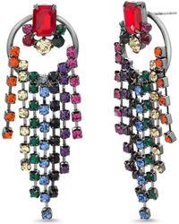 Steve Madden S Rainbow Fringe Circle Post Earrings - Multicolour