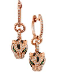 Effy Collection Diamond (3/8 Ct. T.w.) And Tsavorite Accent Panther Drop Earrings In 14k Rose Gold - Metallic