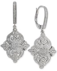 Macy's - Diamond Filigree Drop Earrings (1/7 Ct. T.w.) In Sterling Silver - Lyst