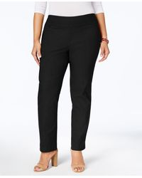 Charter Club Plus Size Cambridge Tummy-control Pull-on Pants, Created For Macy's - Black