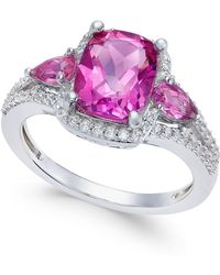 Macy's - Pink Topaz (2-5/8 Ct. T.w.) And White Topaz (1/4 Ct. T.w.) Ring In Sterling Silver - Lyst