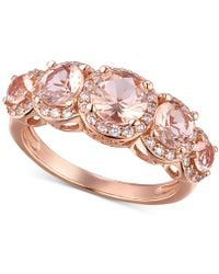 Macy's - Cubic Zirconia Sterling Silver Morganite Multi-stone Statement Ring - Lyst