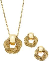 Charter Club | Gold-tone Twisted Knot Pendant Necklace And Earrings Set | Lyst